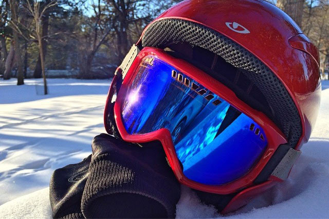 snowboarding with helmets